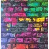 Papírové tapety na zeď Sweet & Cool cihlová stěna zelená, růžová, fialová