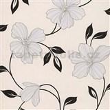 Papírové tapety na zeď Sweet & Cool květy šedé s černými lístky