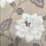 Vliesové tapety na zeď květy na hnědém podkladu - SLEVA
