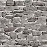 Papírové tapety na zeď - ukládaný kámen šedo-hnědý
