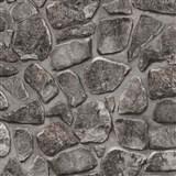 Papírové tapety na zeď - kamenná zeď hnědo-černá