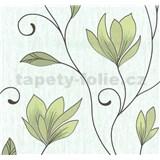 Vliesové tapety na zeď Collection květy zelené se třpytkami