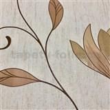 Vliesové tapety na zeď Collection květy světle hnědé se zlatými třpytkami