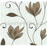 Vliesové tapety na zeď Collection květy hnědé s měděnými třpytkami