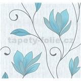 Vliesové tapety na zeď květy modré s třpytkami