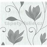 Vliesové tapety na zeď Collection květy šedé se stříbrnými třpytkami
