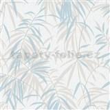 Vliesové tapety IMPOL Timeless listy béžovo-modré na bílém podkladu