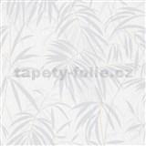 Vliesové tapety IMPOL Timeless listy šedé na bílém podkladu