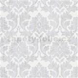 Vliesové tapety IMPOL Timeless ornamenty šedé se stříbrými třpytkami na bílém podkladu