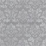 Vliesové tapety IMPOL Timeless ornamenty šedé se stříbrými třpytkami na šedém podkladu