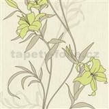 Tapety na zeď Timeless květy lilie zelené na krémovém podkladu