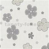 Tapety na zeď Timeless - květy šedé - SLEVA