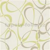 Vliesové tapety na zeď Timeless - elipsy zeleno-hnědé MEGA SLEVA