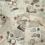 Vliesové tapety na zeď Times pohlednice hnědo-růžové