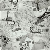 Vliesové tapety na zeď Times pohlednice šedé