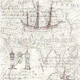 Vliesové tapety na zeď Times mapa hnědá