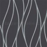 Vliesové tapety na zeď Trendwall vlnovky stříbrné na černém podkladu