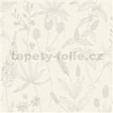 Vliesové tapety na zeď Trendwall luční květy šedé na krémovém podkladu