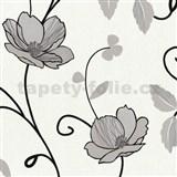 Tapety na zeď Trésor Reloaded - japonské květy - stříbrné