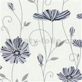 Vliesové tapety na zeď Tribute - květy máků modré na bílém podkladu