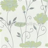 Vliesové tapety na zeď Tribute - květy máků zeleno-modré na bílém podkladu