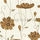 Vliesové tapety na zeď Tribute - květy máků okrové na krémovém podkladu
