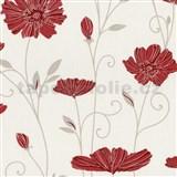 Vliesové tapety na zeď Tribute - květy máků červené na krémovém podkladu