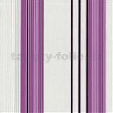 Vliesové tapety na zeď Tribute - pruhy fialovo-stříbrné na bílém podkladu