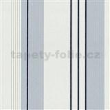 Vliesové tapety na zeď Tribute - pruhy modro-stříbrné na bílém podkladu