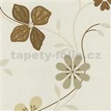 Vliesové tapety na zeď Tribute - květy moderní světle hnědé - SLEVA