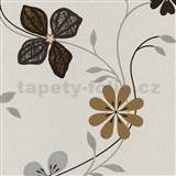 Vliesové tapety na zeď Tribute - květy moderní hnědé, stříbrné - SLEVA