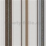 Vliesové tapety na zeď Tribute - pruhy tmavě hnědé, stříbrné - SLEVA