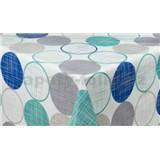 Ubrus metráž kolečka modro-šedé