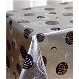 Ubrus metráž metalická kolečka černé na stříbrném podkladu