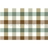 Ubrus metráž kostky zeleno-hnědé