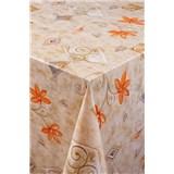 Ubrus metráž květ oranžovo-hnědý