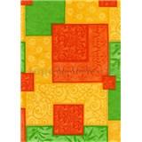 Ubrusy návin 20 m x 140 cm čtverce oranžovo-zelené