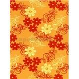 Ubrus metráž květy oranžové