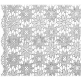Běhoun na stůl š.50cm návin 20 m květinky stříbrné