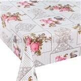 Ubrusy návin 20 m x 140 cm květy růžových růží s lístky s textilní strukturou