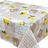 Ubrusy návin 20 m x 140 cm citróny s lístky na hnědém podkladu
