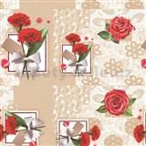 Ubrus metráž červené karafiáty a růže
