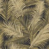 Vliesové tapety na zeď IMPOL EDEN palmové listy hnědo-zlaté s metalickým odleskem