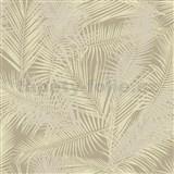 Vliesové tapety na zeď IMPOL EDEN palmové listy béžovo-zlaté s metalickým odleskem