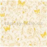 Luxusní vliesové  tapety na zeď Versace III barokní vzor zlatý se žlutými motýly