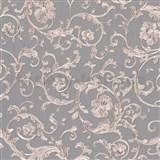 Luxusní vliesové  tapety na zeď Versace III klasický barokní vzor šedo-nachový