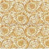 Luxusní vliesové  tapety na zeď Versace IV barokní vzor bílo-žlutý