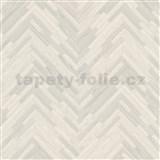 Luxusní vliesové  tapety na zeď Versace IV parketový obklad šedo-bílý