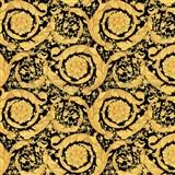 Luxusní vliesové  tapety na zeď Versace III barokní květinový vzor žluto-černý