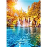 Vliesové fototapety vodopád a jezero v Chorvatsku rozměr 184 x 254 cm
